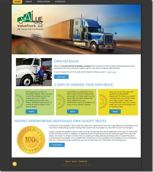 ValueTruck Leasing Website by Charleston PR \ Design, LLC - truck leasing template