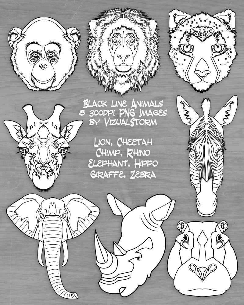 Cheap Safari Animal Faces Clipart Black White Jungle Animals Zoo Diy Coloring Images Lion Cheetah Monkey Elephant Giraffe Rhino Hippo Zebra With