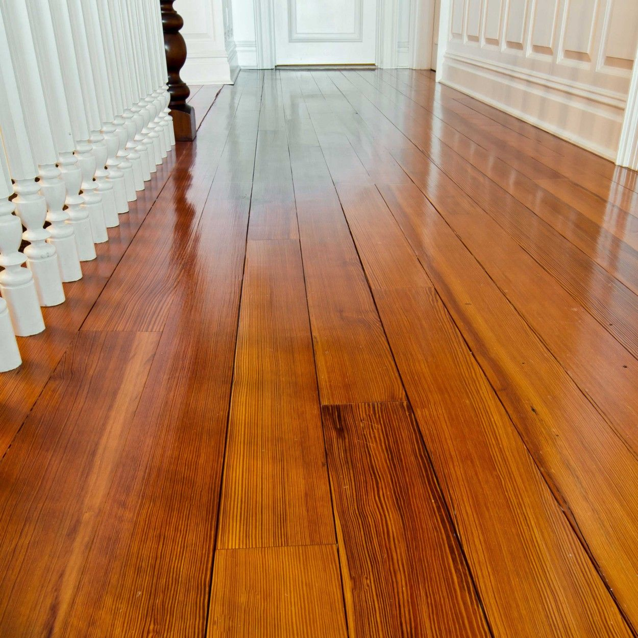 Reclaimed Salvaged Antique Heart Pine Flooring Clear Quartersawn Grain Private Residence