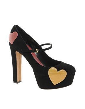 Moschino Cheap and Chic Griselda Heart Print Mary Jane Shoes