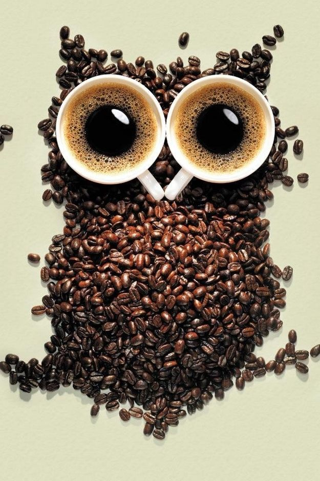 Coffee I Love The Creativity Of Beans Placed Together Creating A Collage An Owl And Cups As Eyes Delivering Message