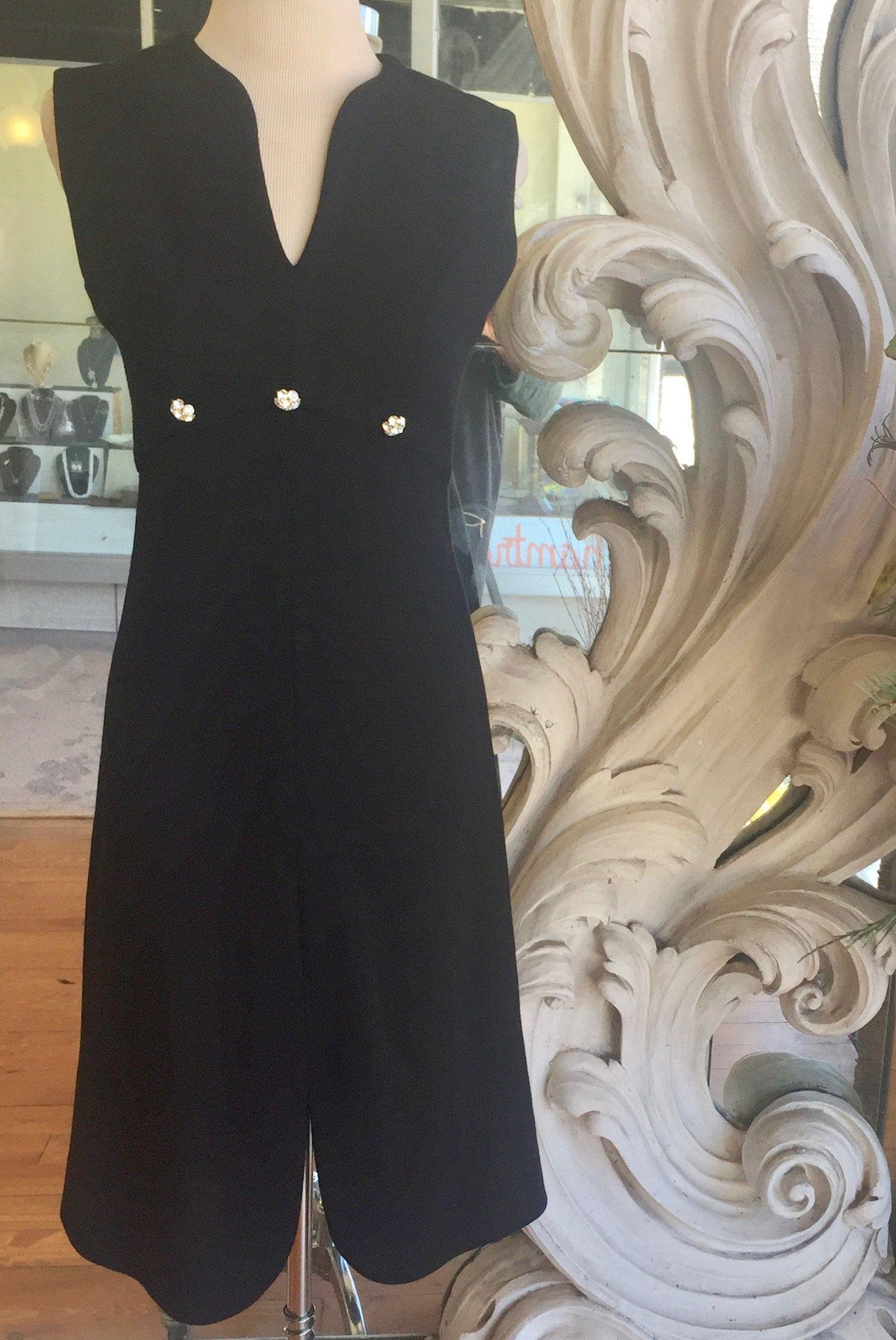 Vintage s leslie fay little black dress sleeveless rhinestones