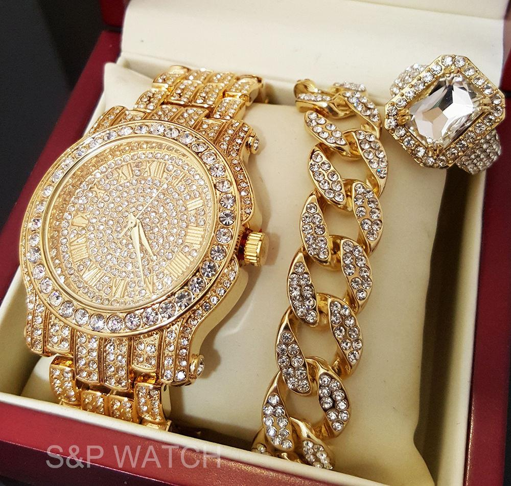 ICED OUT GOLD TONE BEST SELLER WATCH & RING & BRACELET