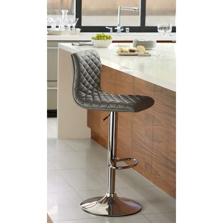 Delightful Caviar Chrome And Gray Faux Leather Adjustable Barstool   Style # 8F712 Idea