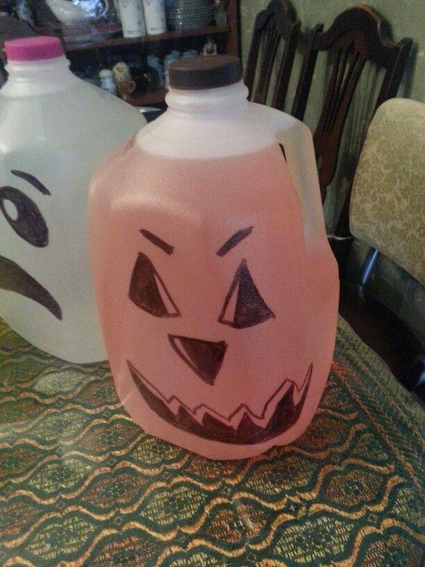 Helloween pumpkin milk jug and food coloring