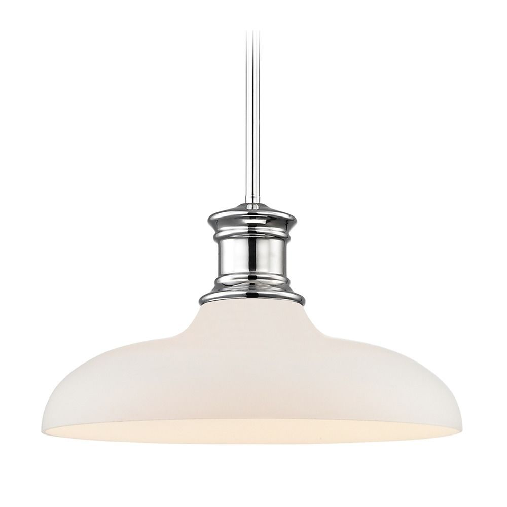 Chrome Pendant Light With White Glass 14 Inch Wide At Destination Lighting Pendant Light Chrome Pendant Lighting Bathroom Pendant