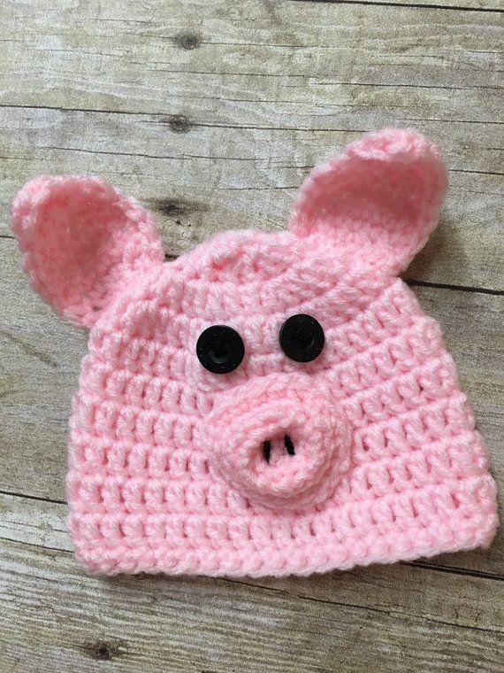 Newborn pig hat baby pig hat baby crochet by HushabyeStrBoutique ...