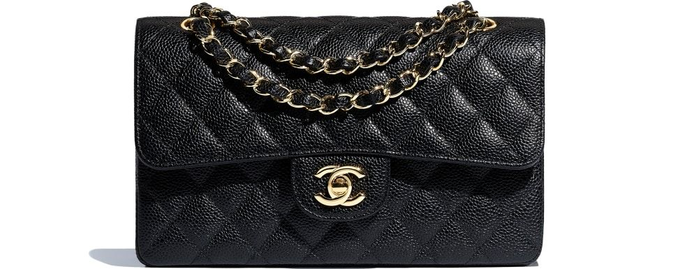 ff64494a339 $4,700- Small Classic Handbag, grained calfskin & gold-tone metal, black -  CHANEL