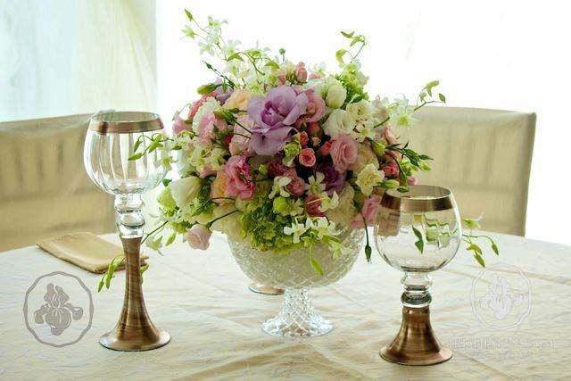 Centro de mesa copa redonda de cristal cortado wedding - Cristales para mesa ...