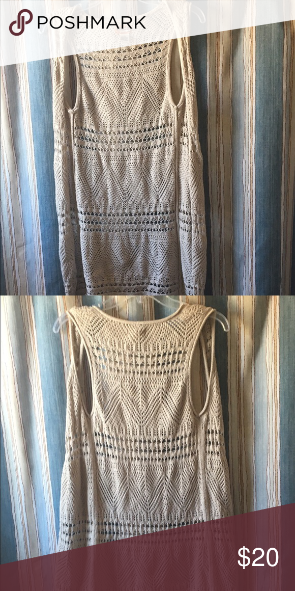 "Pretty crochet vest Long length super soft crochet ""vest"". In great condition with no pulls or rips. Very cute over a dress Mudd Jackets & Coats Vests"