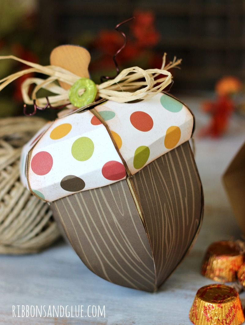 Fall Acorn Boxes Paper Crafting With Buttons Pinterest Box Chocolate Fuse Holder Treat Embellished Galore