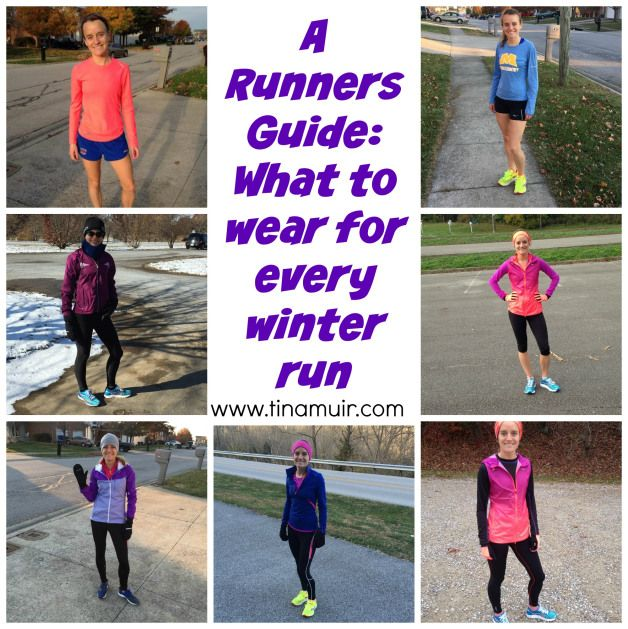 This guide is so helpful! Diagrams for every 5 degree difference in temperature from Elite runner Tina Muir! Winter Running- What to Wear at Every Temperature   Fuel Your Future with Tina Muir