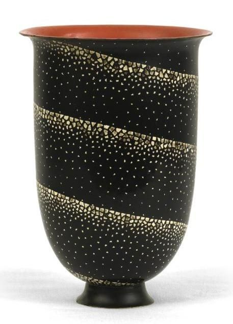Jean Dunand (1877-1942), lacquered-metal vase.