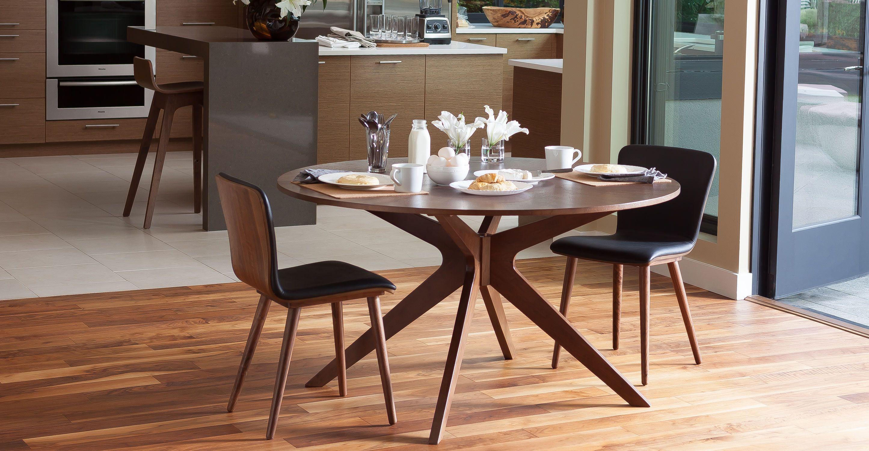 2 x Gray Mid-Century Modern Dining Chair In Walnut Wood ...