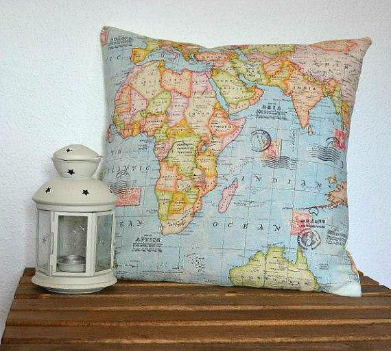 World map cushion world map pillow by pupettas on etsy rrrr items similar to world map cushion world map pillow on etsy gumiabroncs Choice Image