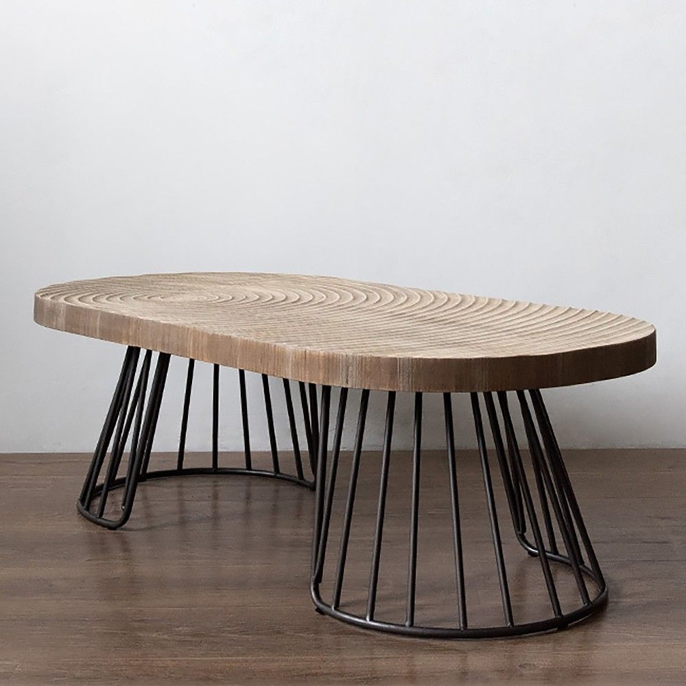 47 Vintage Oval Coffee Table Solid Wood Table Top Growth Rings Metal Base Coffee Table Solid Wood Table Tops Solid Wood Coffee Table [ 1000 x 1000 Pixel ]