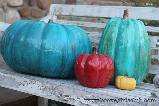 Turquoise pumpkins | Fall decorations | Pinterest