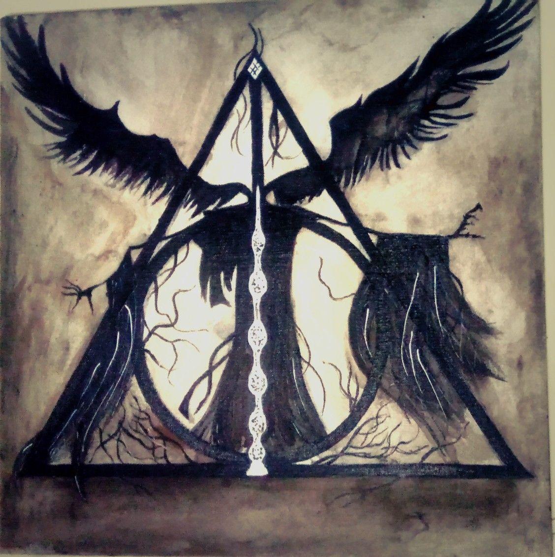 Harry Potter Deathly Hallows The Tale Of 3 Brothers Tattoo Reliquias Da Morte Harry Potter Desenho