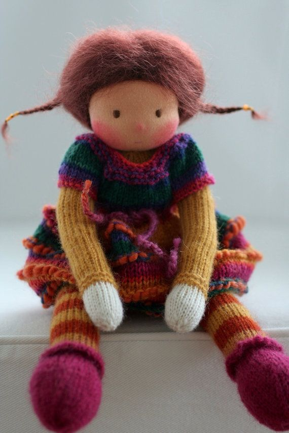 Waldorf knitted doll Korina 13 by Peperuda dolls by ...