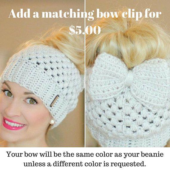 Crochet Top Knot Beanie, Mom Bun Beanie, Crochet Messy Bun Beanie ...