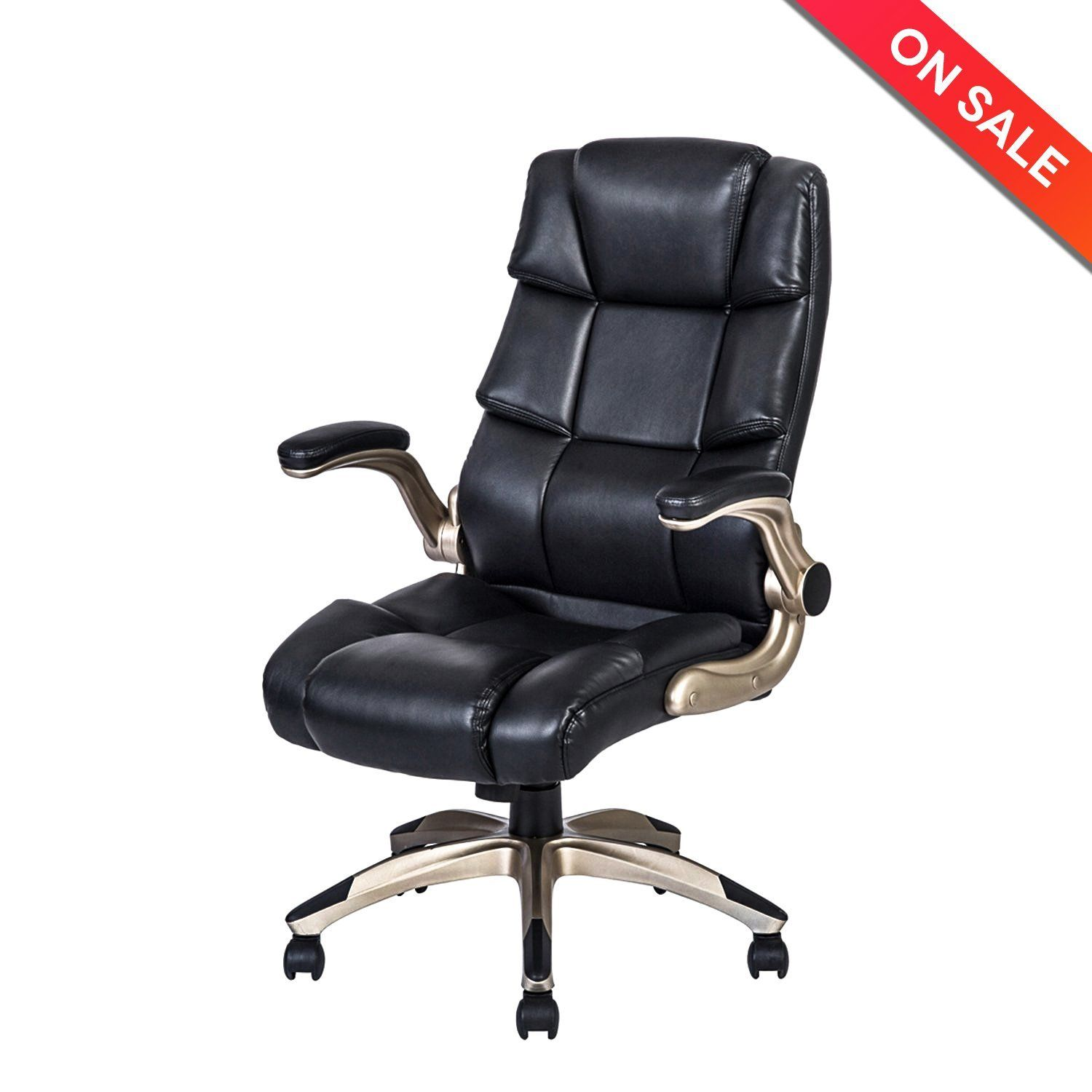 Amazon Com Lch Ergonomic High Back Leather Office Chair Adjustable Padded Flip Up Arms Executive C Office Chair Leather Office Chair Executive Office Chairs