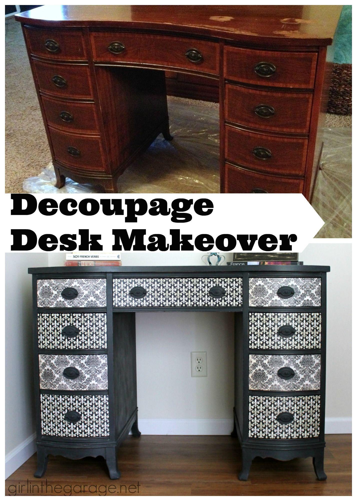 Furniture ideas Decoupage Desk Makeover Trash
