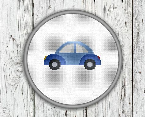 Cute Little Blue Car Counted Cross Stitch Patter – PDF, Instant Download