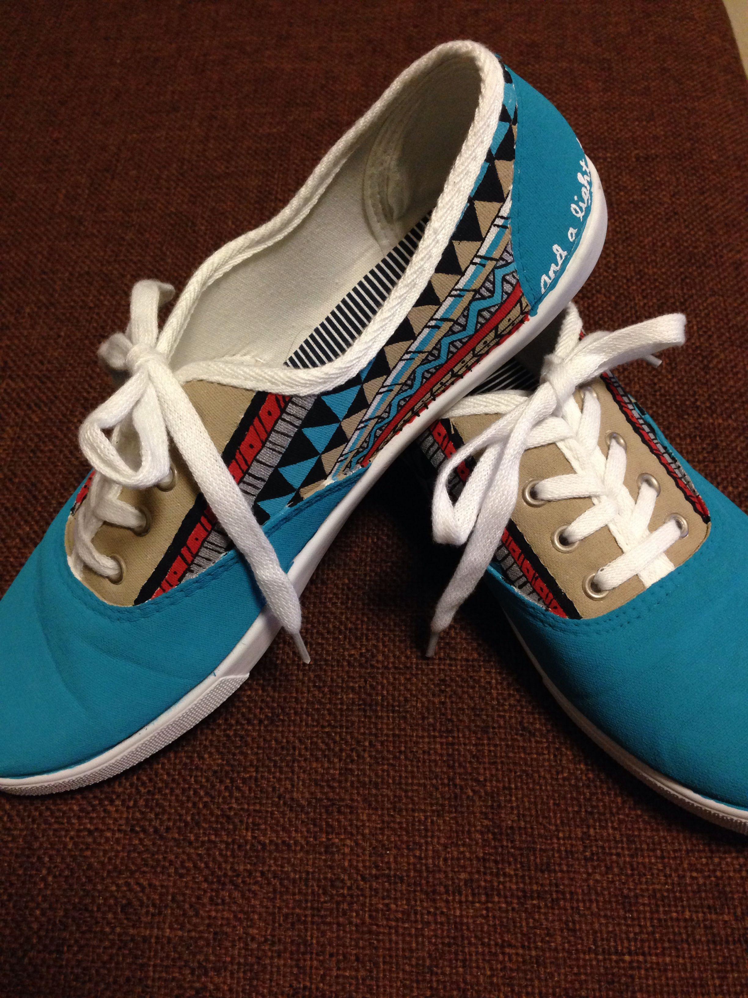 6 walmart white canvas shoes painted aztec print