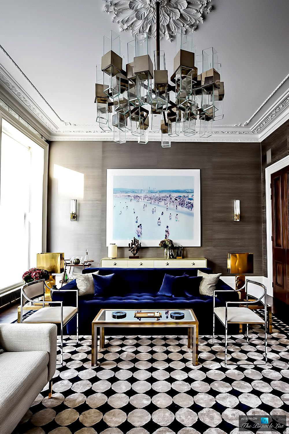 Love This Moody Blue Velvet Sofa Looks Lovely With The Cool Neutrals In Room Pembridge Home By Peter Mikic