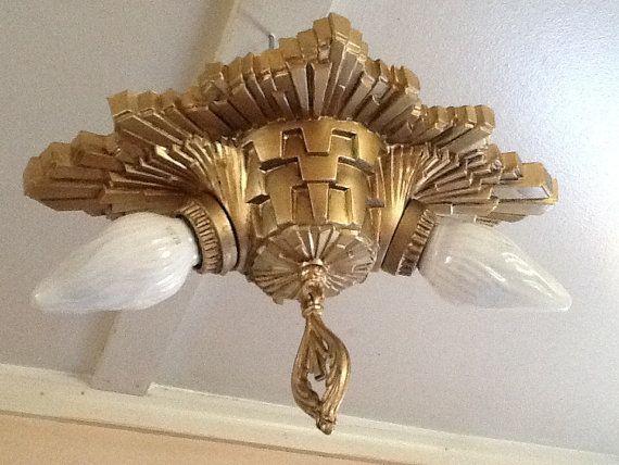 Vintage Art Deco Sunburst Ceiling Light Fixture By Antiquelights
