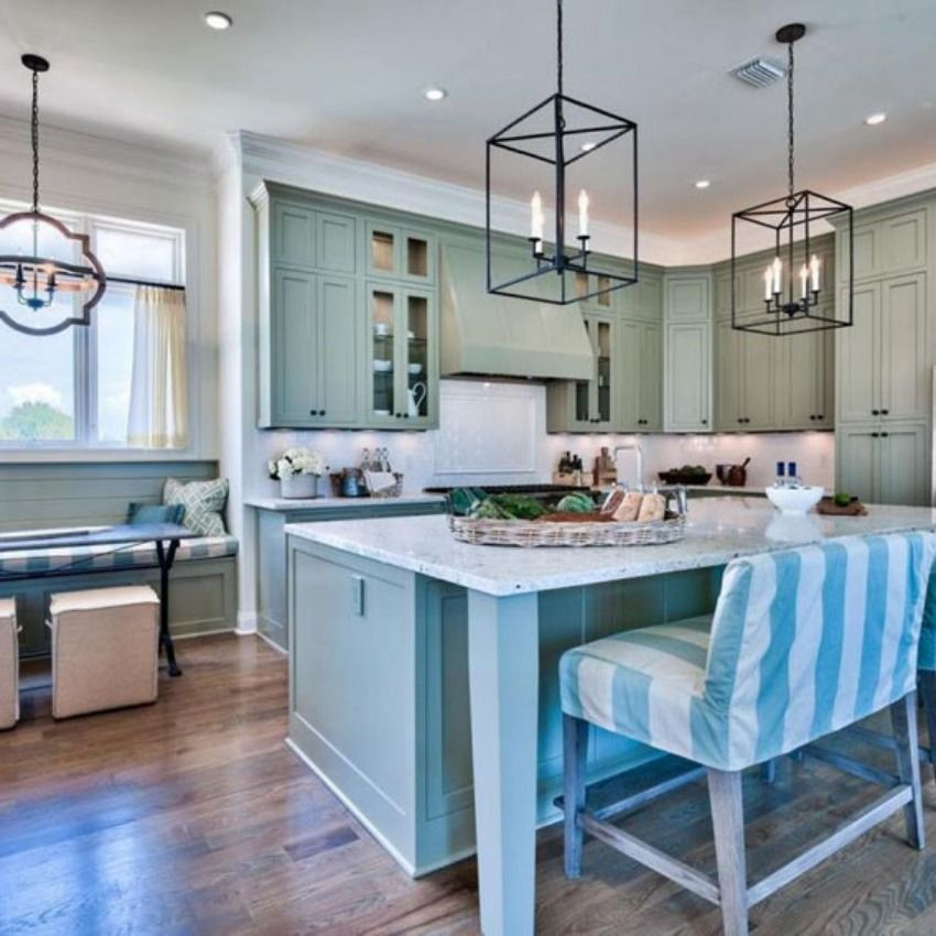 5 Best Country Kitchen With Beadboard Cabinets And Two Level Breakfast Bar Island Disenos De Unas