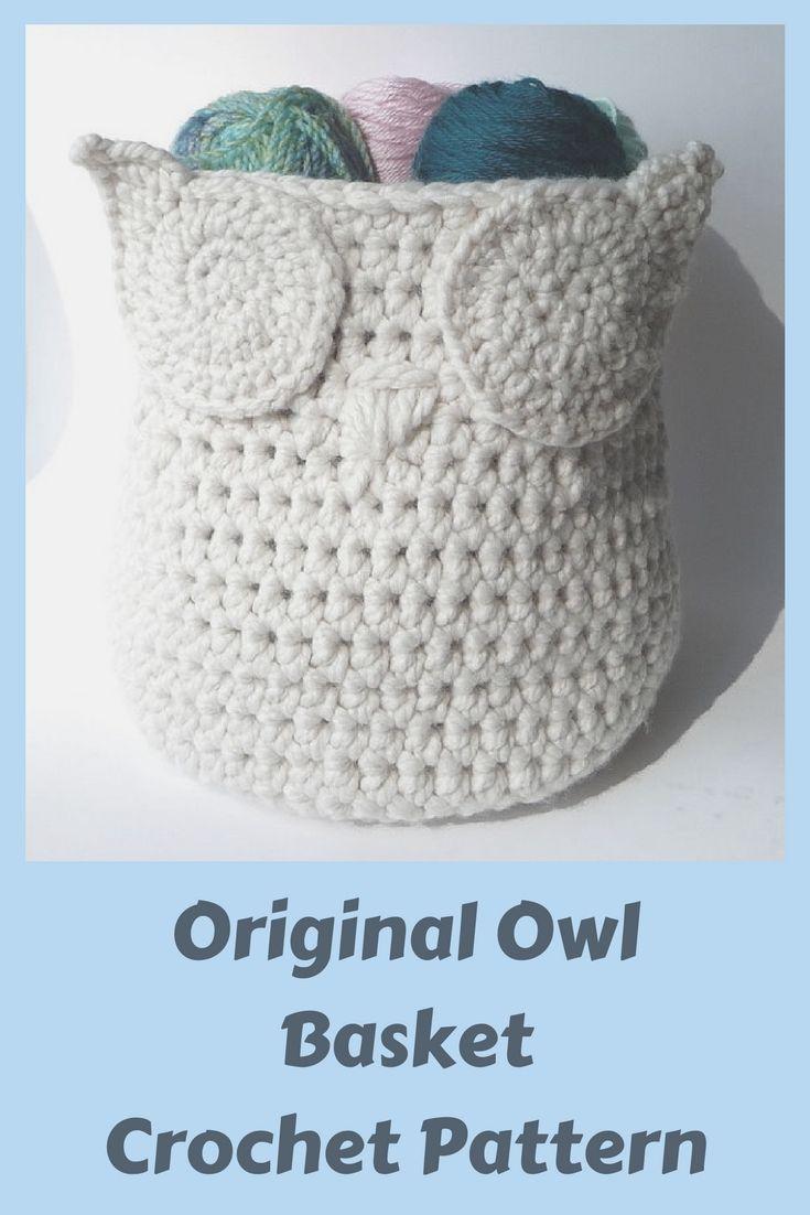 Basket Owl Crochet Pattern Storage Basket Storage Bin Large Crochet ...