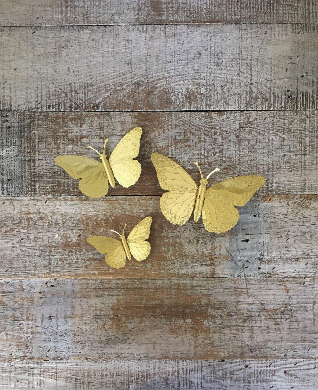 Butterflies 3 Brass Butterfly Wall Hangings Brass Butterflies Wall ...