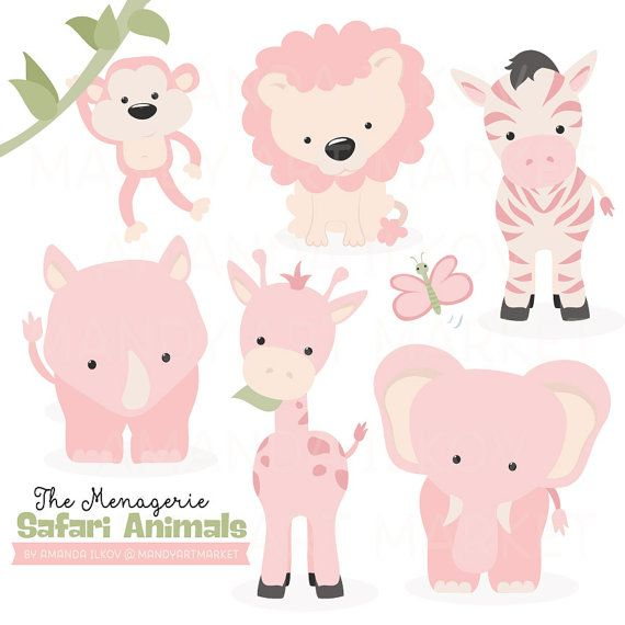 Premium African Safari Animals Clip Art Vectors Soft Pink Colorful Animal Nursery Cute Doodles Drawings Cute Quilts