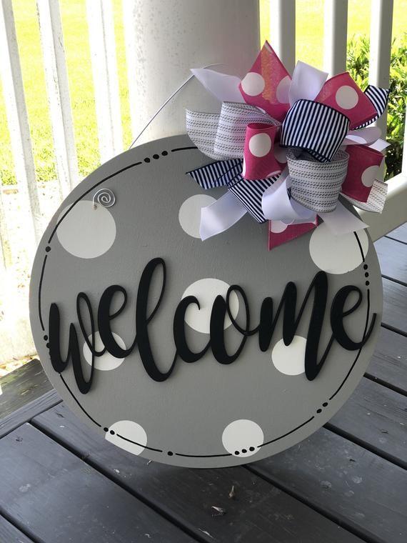 Gray Polka Dot Welcome Dior Hanger
