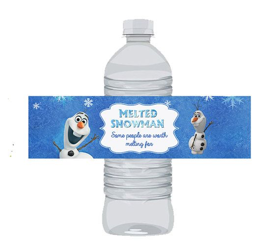 instant download olaf disney frozen water bottle labels melted