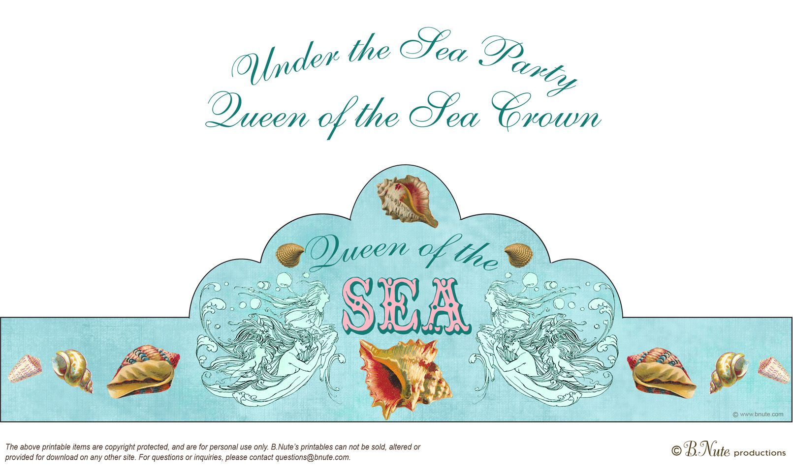 Under The Sea Party A Free Printable Crown Perfect For You To Wear On Your Special Day