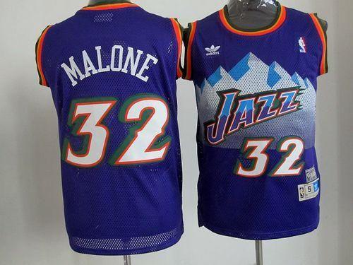 buy popular c743d e689b Jazz #32 Karl Malone Purple Throwback Stitched NBA Jersey ...