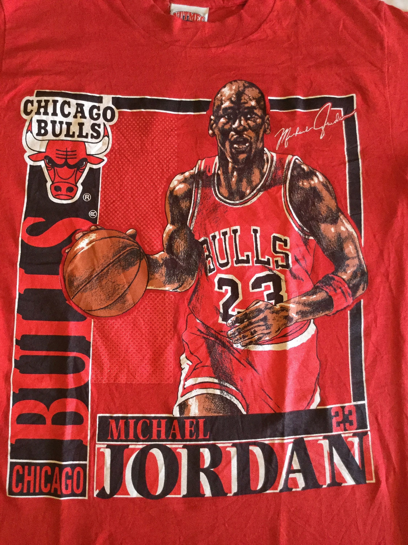 Vintage Michael Jordan Chicago Bulls Nba Basketball T Shirt Etsy Nba T Shirts Vintage Tshirts Colorful Tee
