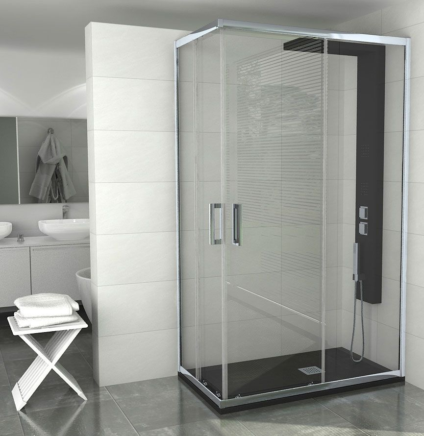 Columna de ducha con hidromasaje rociador y ducha de mano kira nera de sanycces http www - Columnas de ducha ...