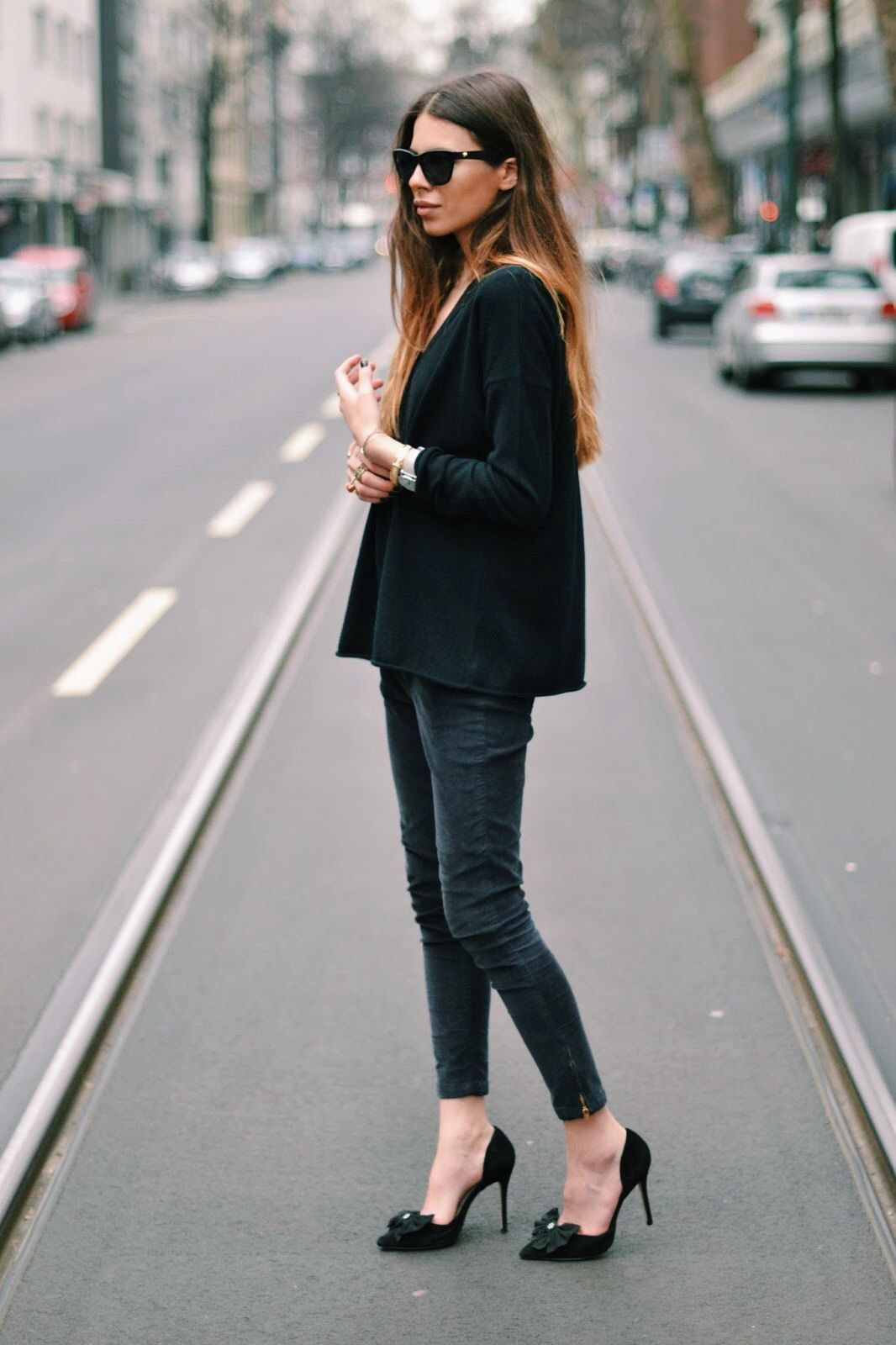 Maja Wyh in Wild Wool oversized v neck sweater | Outfit ...