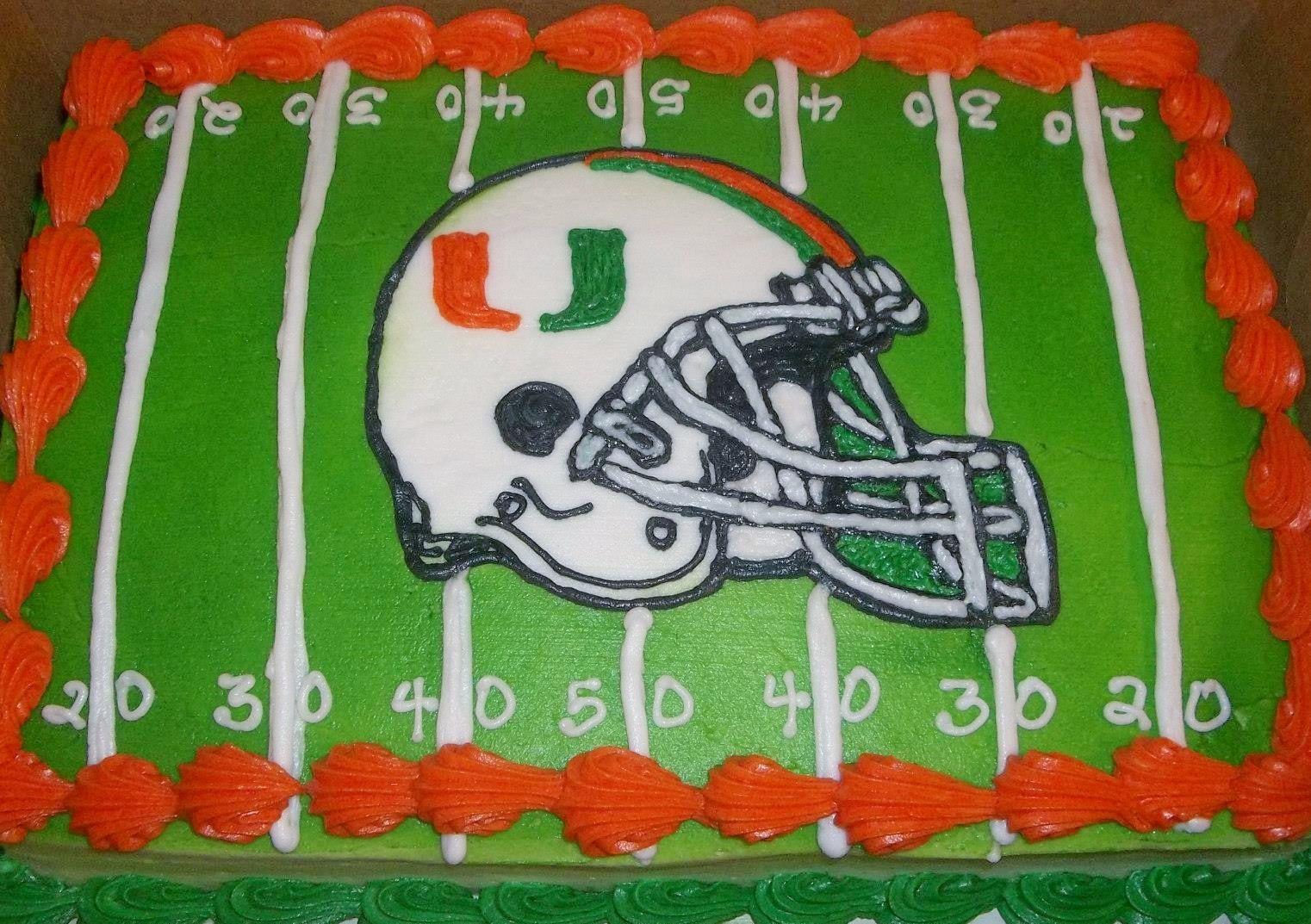 Miami Hurricanes Football Helmet Cake Paty Kakes Pinterest