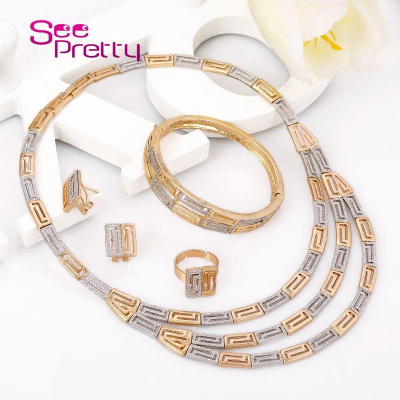 SeePretty 18k Gold Plated Earrings Fashion Beauty Necklace SetCostume African Wedding Jewelry Set