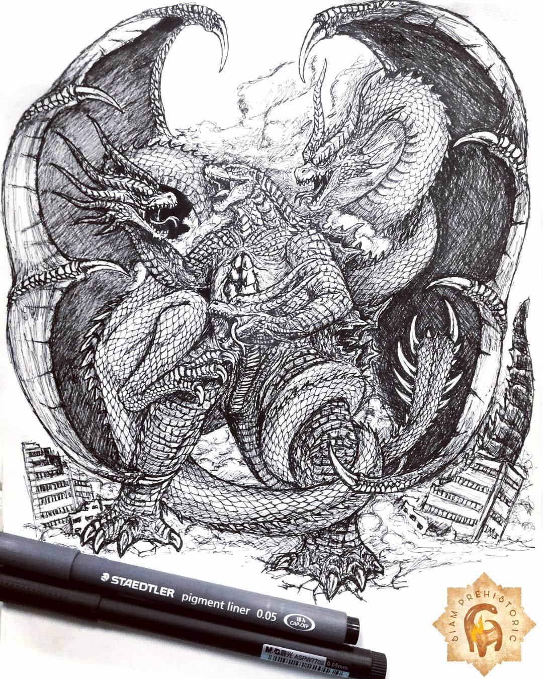 GODZILLA VS. KING GHIDORAH (2019) Drawing pen on paper
