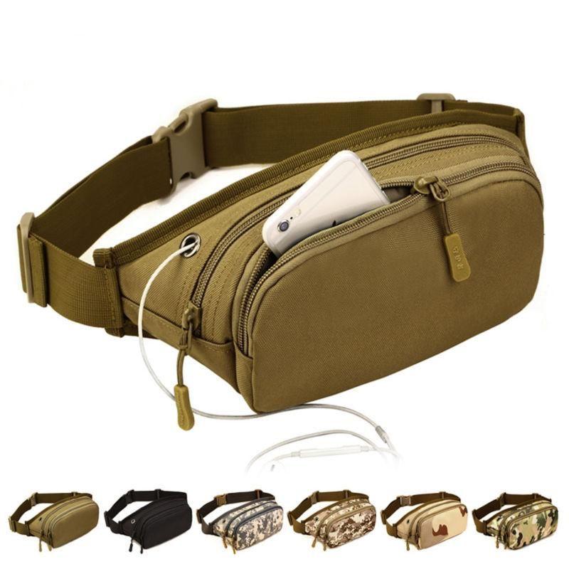 Men Nylon Waist Fanny Pack Hip Bum Tactical Military Travel Hiking Running Bag