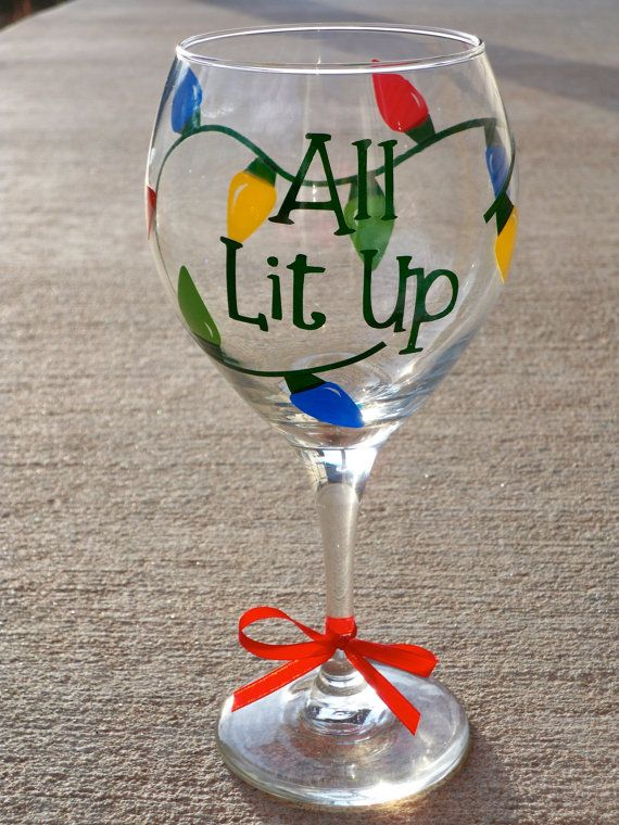 All lit up christmas wine glass by announciation on etsy for Holiday wine glass crafts