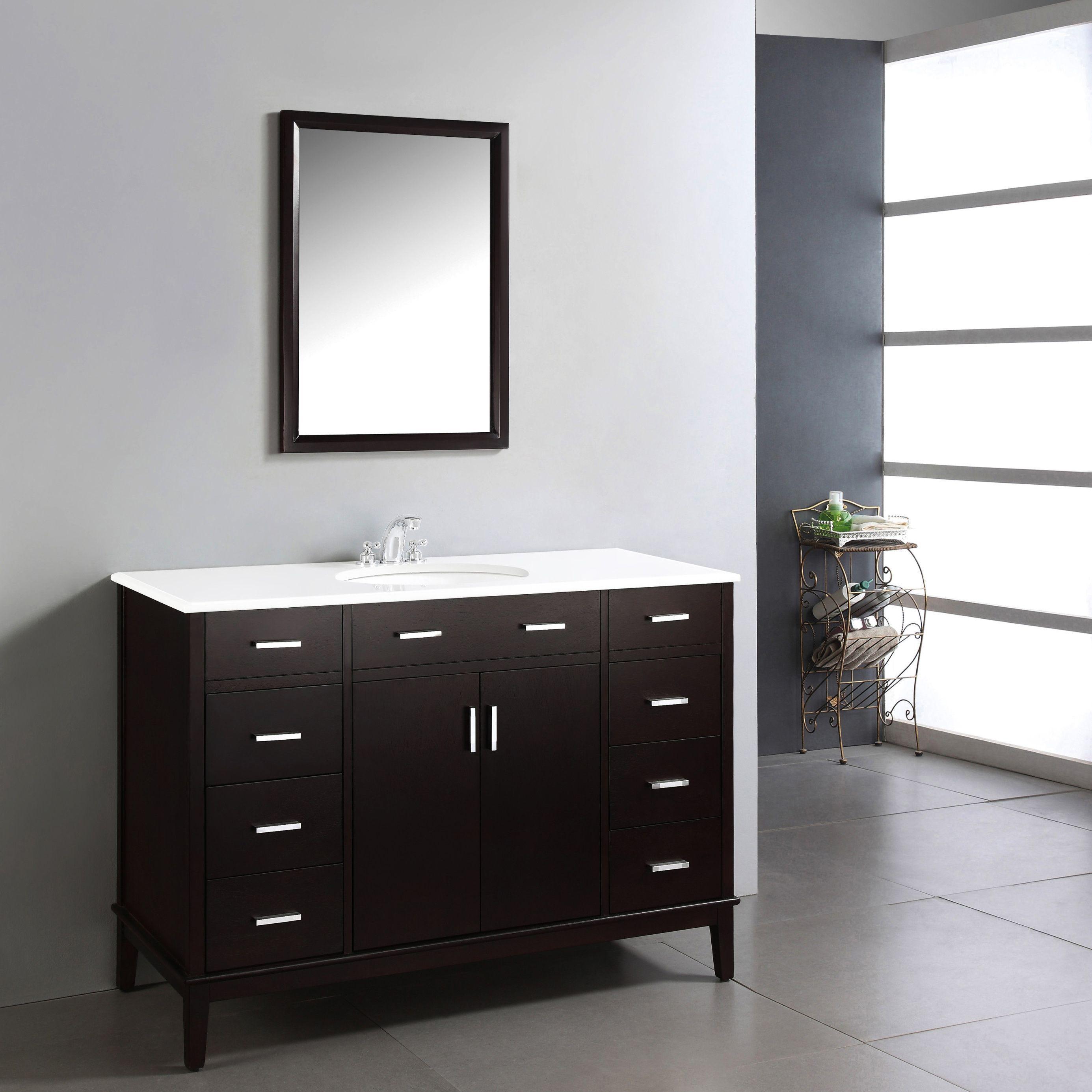 Wyndenhall Oxford 48 Inch Contemporary Bath Vanity In Dark Espresso Brown With White Engineered Quartz Marble Top Single Bathroom Vanity Marble Vanity Tops Vanity