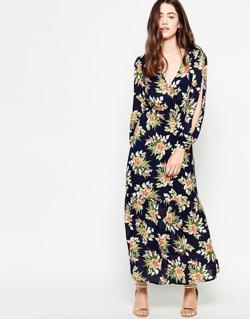 Mela Loves London Tropical Print Long Sleeve Maxi Dress Pinterest