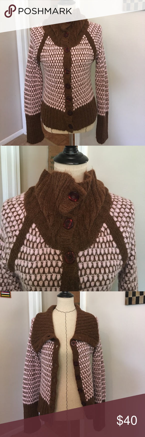 Free People Cardigan Sweater Warm and fuzzy pale pink and brown ...