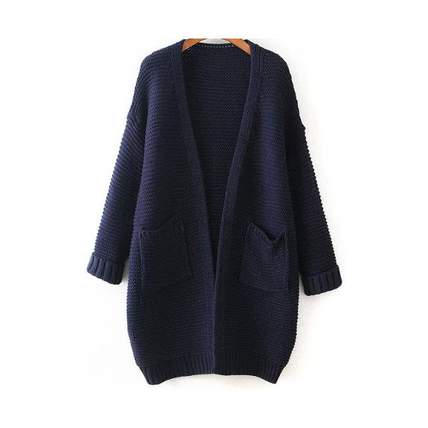 With Pockets Knit Navy Cardigan (32 CAD) ❤ liked on Polyvore ...